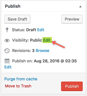 Edit Visibility of WordPress Post