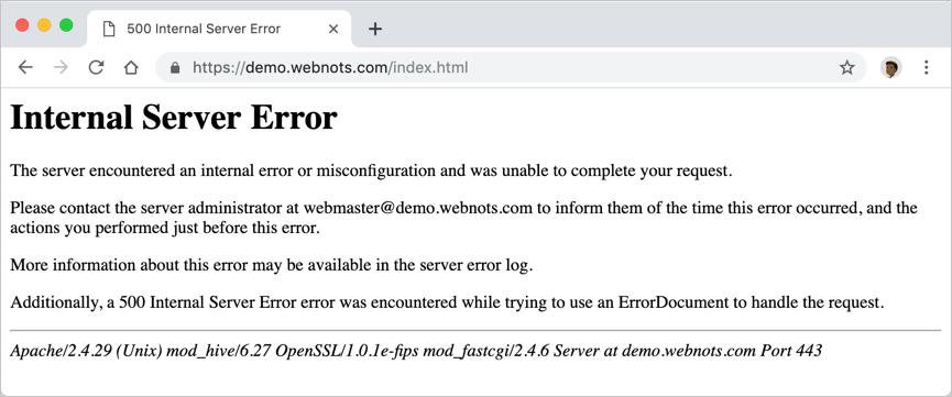 Внутренняя ошибка сервера