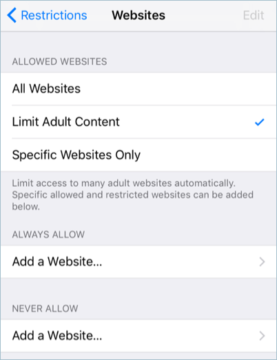 Limiting Only Adult Websites