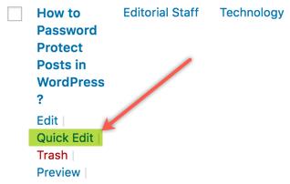 Быстрое редактирование для защиты паролем