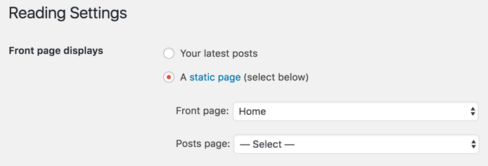 Setting Front Page in WordPress