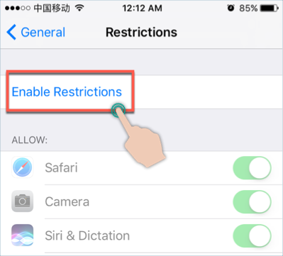 Tap Enable Restriction