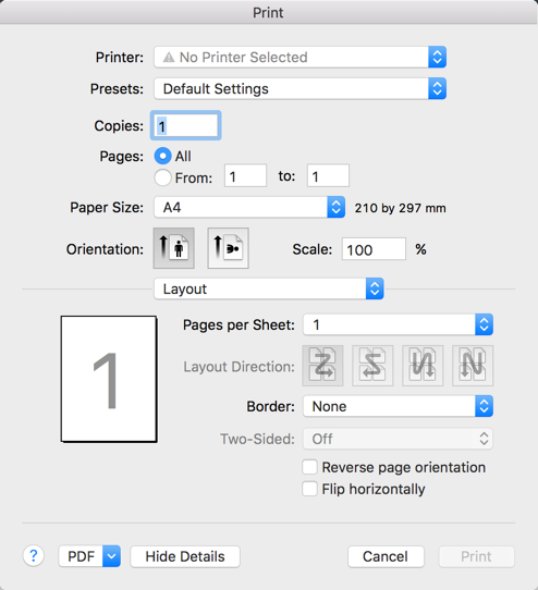 Use Default System Print Dialog for PDF Conversion