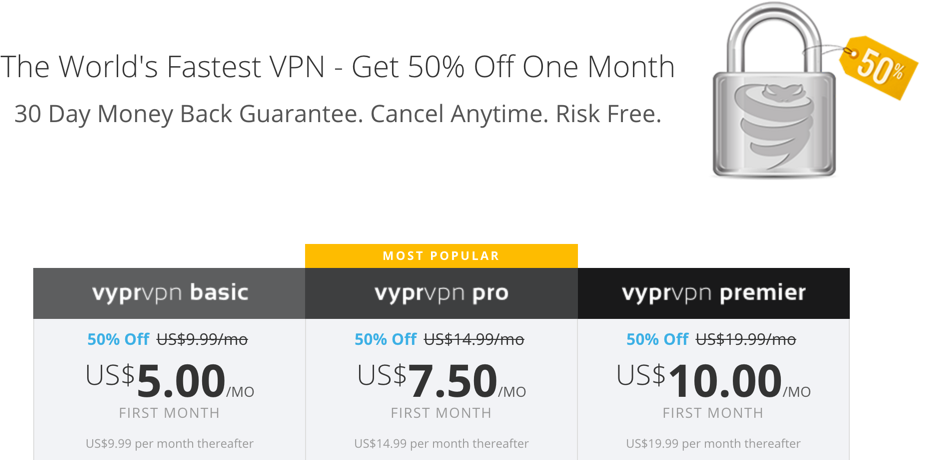 VyprVPN 50% Monthly Offer