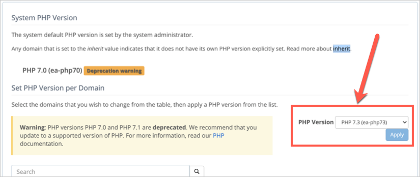 Change PHP Version