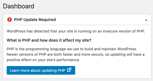 PHP Update Required Warning