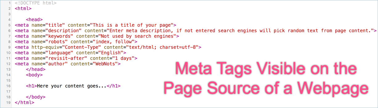 Viewing Meta Tags of a Webpage