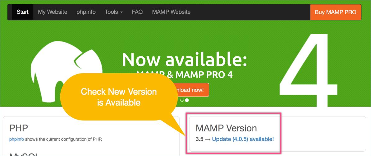 Checking New MAMP Version
