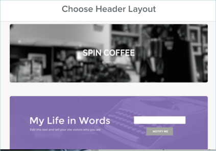 Choosing New Header Layout