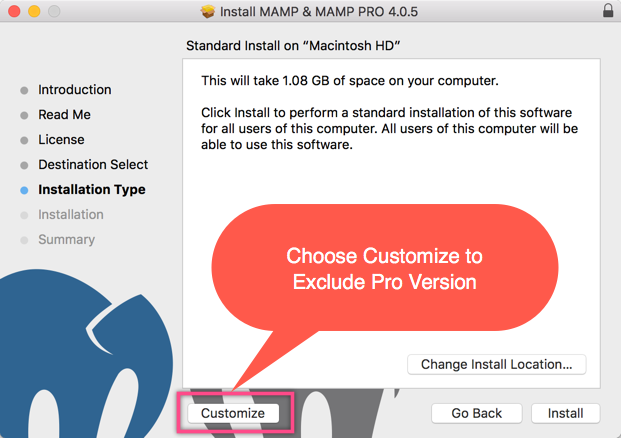 Customizing MAMP Installation