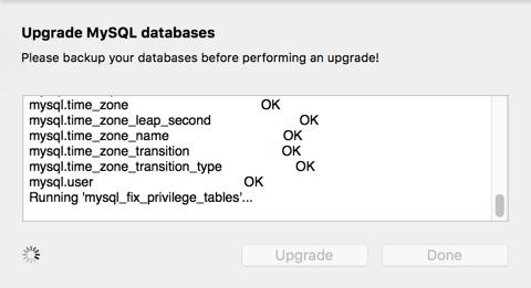 Database Upgrade Running