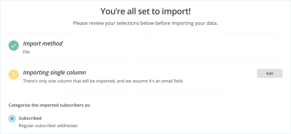 Import Setting in MailChimp