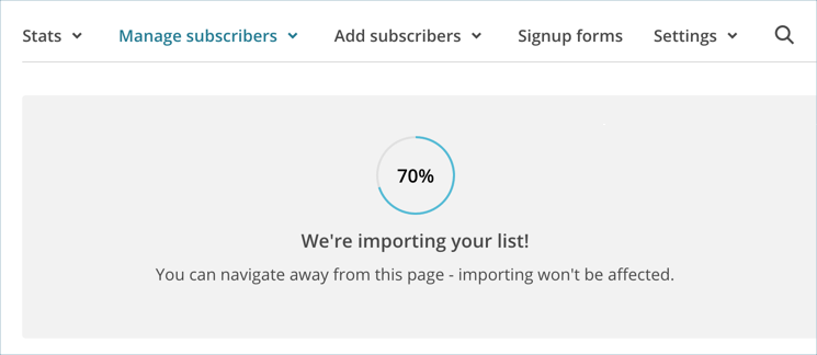 Importing in Progress in MailChimp