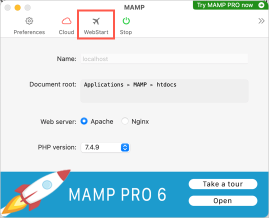 Launch WebStart Page in MAMP