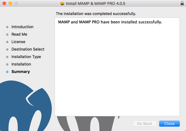 MAMP Successfully Installed