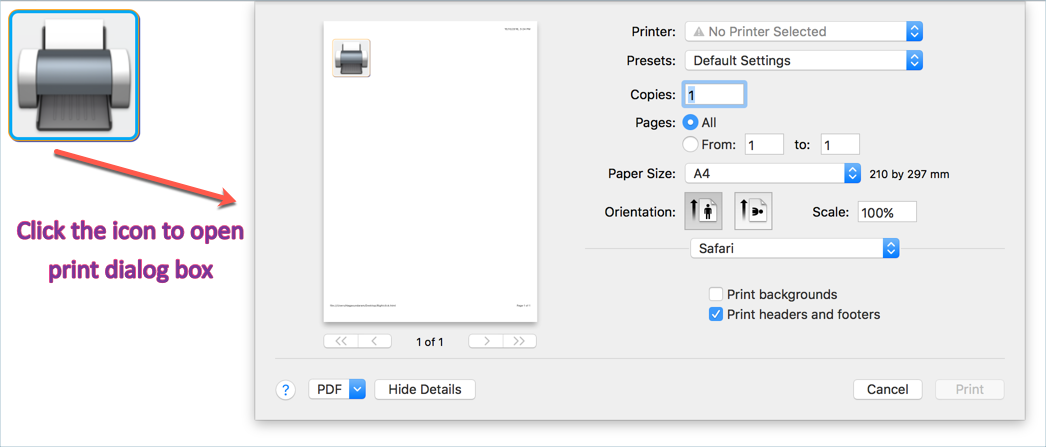 Opening Print Dialog Box in Safari Browser