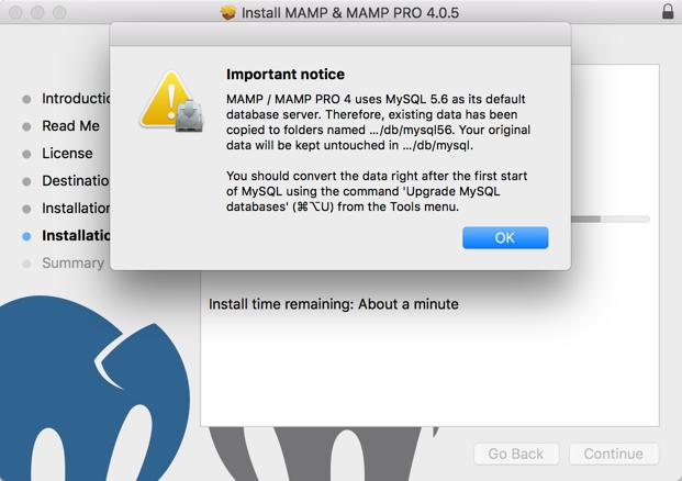 Upgrade Warning for MySQL Database Version.