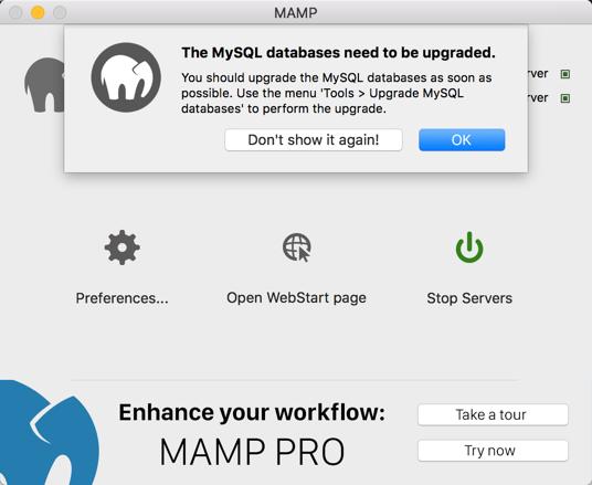 Upgrading MySQL Database in MAMP