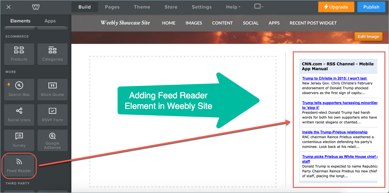 Adding Feed Reader Element in Weebly Site