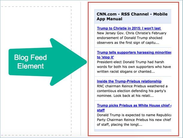 Элемент ленты блога в Weebly
