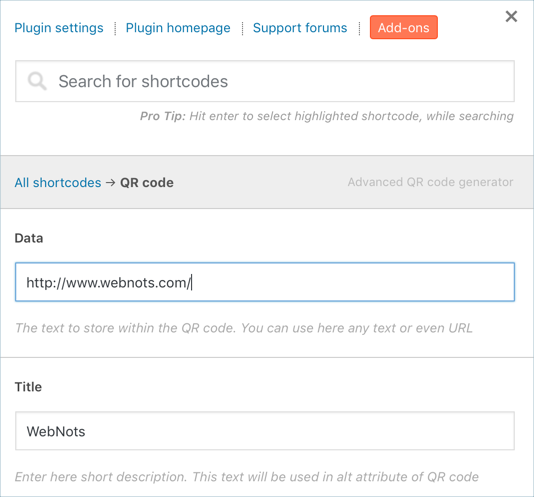 Generating QR Code Using Shortcodes Ultimate Plugin