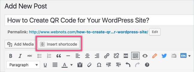 Inserting Shortcodes in Post