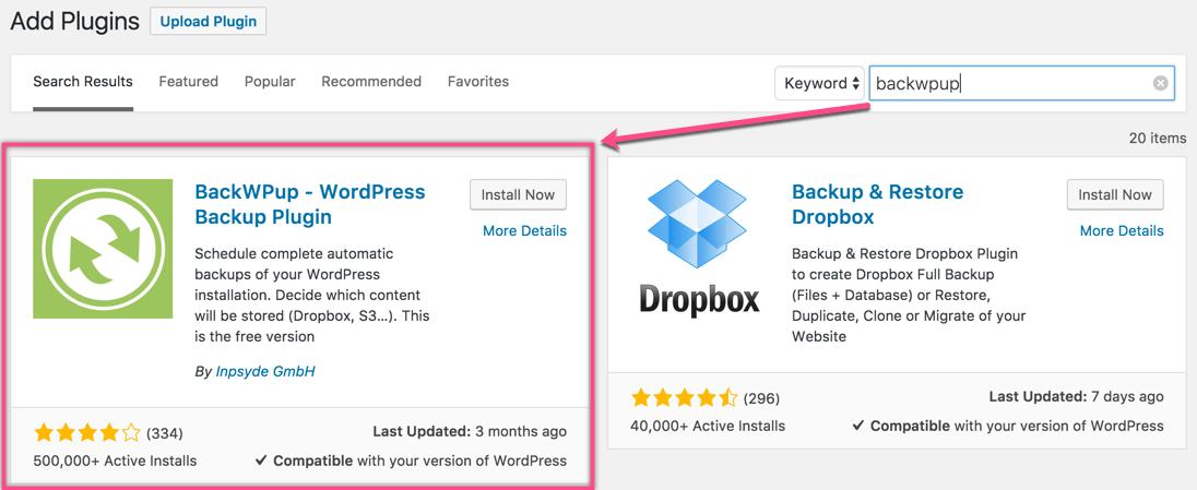 Install BackWPup - WordPress Backup Plugin