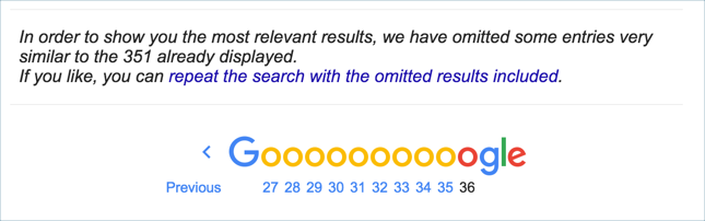 Omitted Search Results Indicated in Google Search