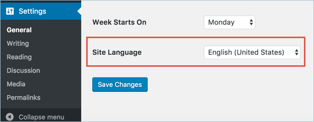 Изменение языка панели администратора WordPress