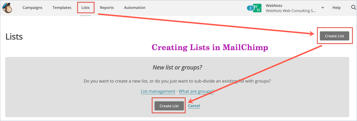 Creating Lists in MailChimp
