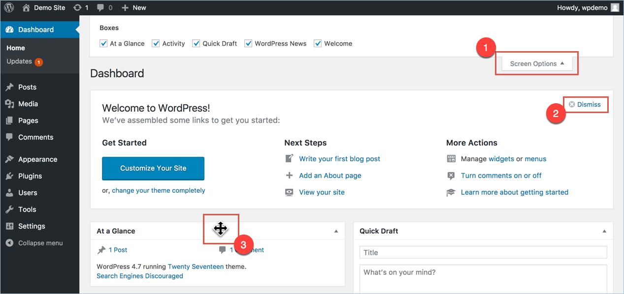 Настройка экрана панели инструментов WordPress