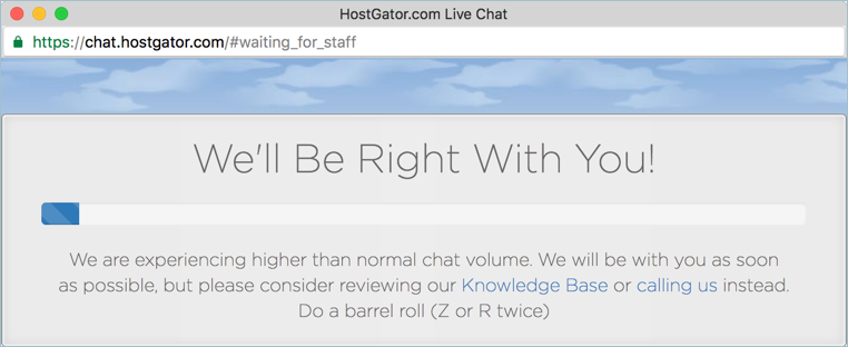 HostGator Chat Screen Waiting for Staff