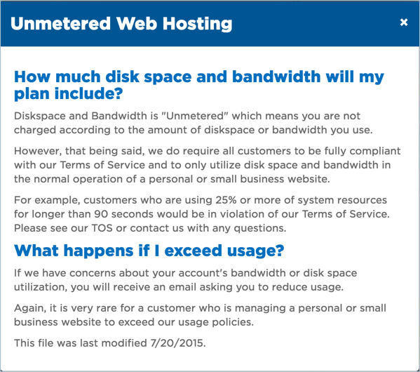 HostGator Unmetered Bandwidth Policy