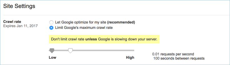 Setting Crawl Rate in Google Search Console