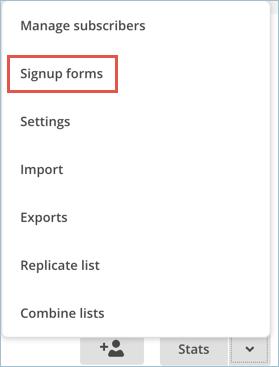 Signup Form Menu