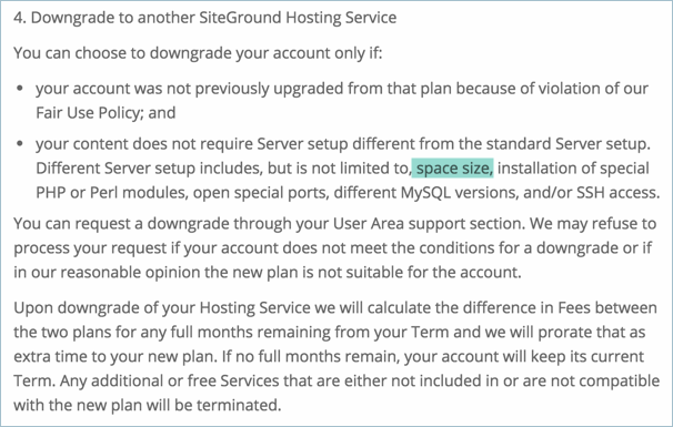 SiteGround Terms on Downgrading Hosting Plan