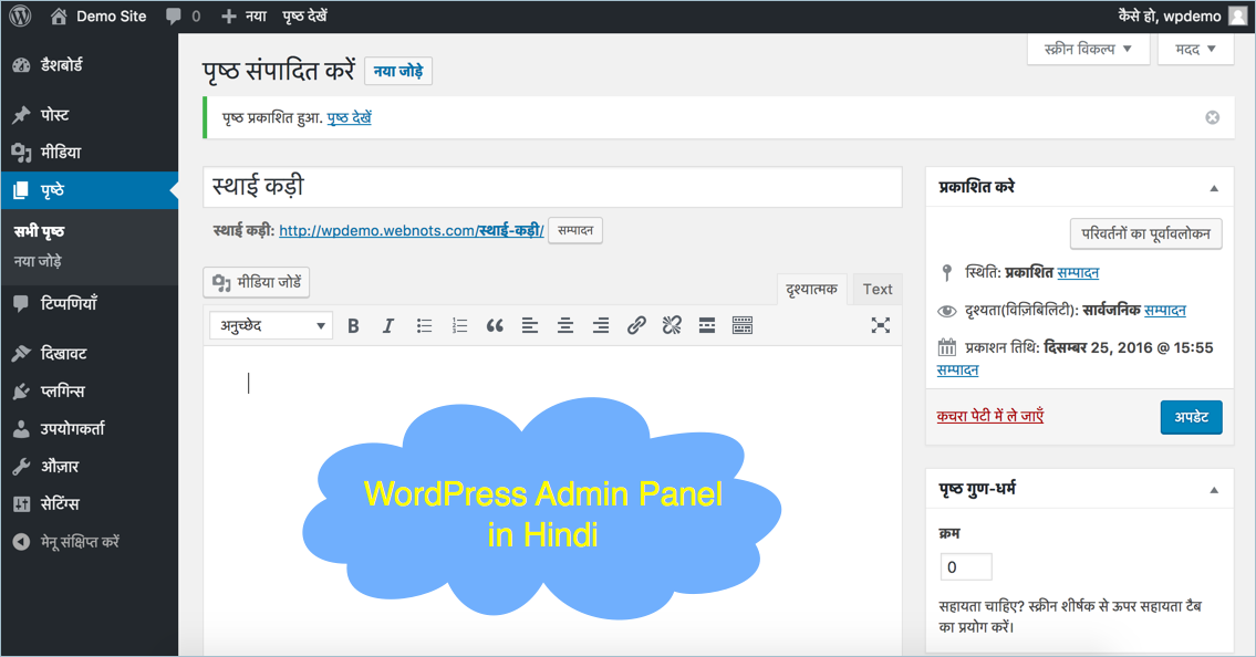 WordPress Admin Panel in Hindi Language