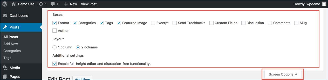 Меню параметров экрана WordPress для визуального редактора