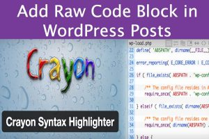 Add Raw Code Block in WordPress Posts