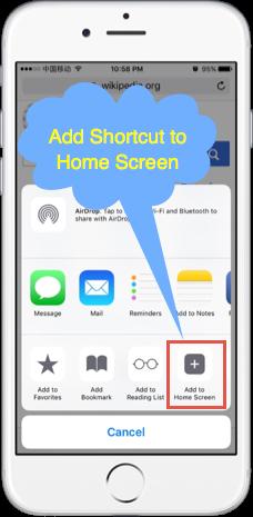 Add Shortcut to Home Screen