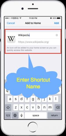 Enter Name for the Shortcut
