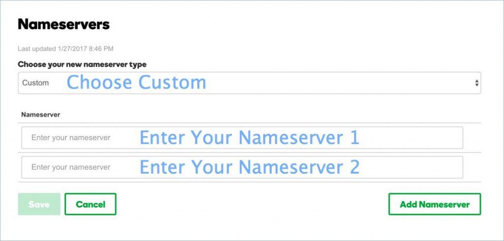 Ввод новых серверов имен в GoDaddy