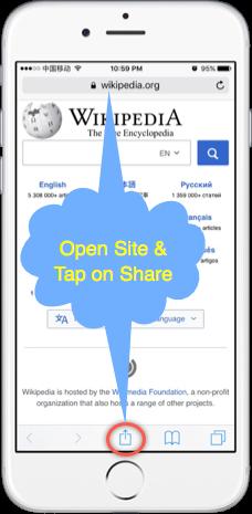 Open Site in Safari and Share