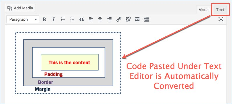 Pasting Code Under WordPress Text Editor
