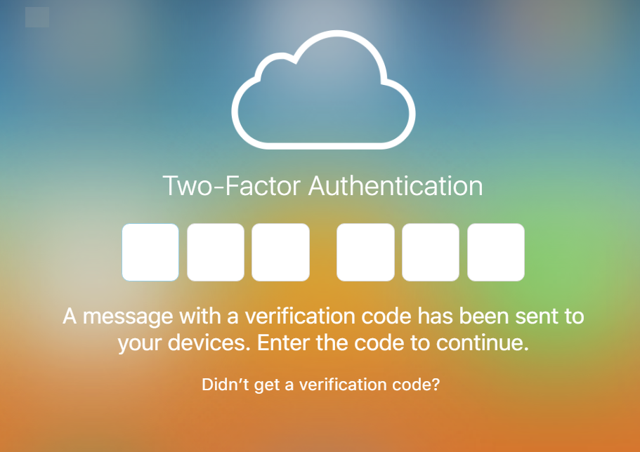 iCloud Two Factor Authentication