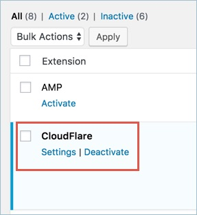 Activate CloudFlare Extension for W3TC