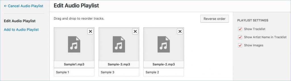Editing Audio Playlist in WordPress