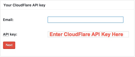 Entering CloudFlare API Key in W3TC Authorization Box