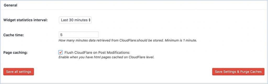 General CloudFlare Settings