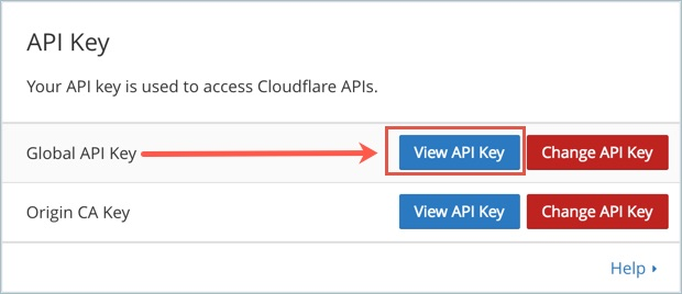 Getting Global API Key from CloudFlare